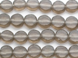 Smoky Gray Round Tabular Recycled Glass Beads 12-15mm - Indonesia (RG684)
