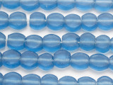 Blue Round Tabular Recycled Glass Beads 12-15mm - Indonesia (RG685)