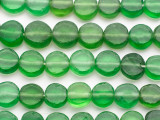 Green Round Tabular Recycled Glass Beads 12-15mm - Indonesia (RG686)