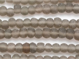 Smoky Gray Irregular Round Recycled Glass Beads 7-10mm - Indonesia (RG688)