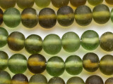 Green & Olive Round Recycled Glass Beads 14-16mm - Indonesia (RG689)