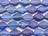 Blue Diamond Tabular Recycled Glass Beads 15-18mm - Indonesia (RG692)