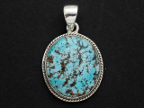 Sterling Silver & Turquoise Pendant 32mm (GSP2543)