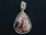 Sterling Silver & Crazy Lace Agate Pendant 35mm (GSP2547)