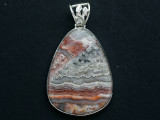 Sterling Silver & Crazy Lace Agate Pendant 42mm (GSP2549)