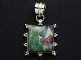 Sterling Silver & Ruby Zoisite Pendant 35mm (GSP2550)