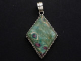 Sterling Silver & Ruby Zoisite Pendant 49mm (GSP2553)