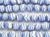 Blue & White Swirl Round Glass Beads 12mm (JV1323)