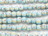 Blue w/Red & Yellow Dots Round Glass Beads 10mm (JV1324)