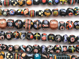 Assorted Fancy Black Glass Beads 5-12mm (JV1333)