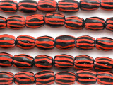 Black & Red Striped Barrel Glass Beads 15mm (JV1334)