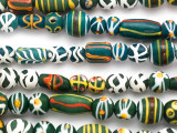 Green, White & Yellow Fancy Glass Beads 8-22mm (JV1337)