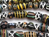 Assorted Black Fancy Glass Beads 8-22mm (JV1338)