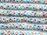 Light Blue w/Multi-Color Dots Glass Beads 8-10mm (JV1342)
