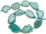 Teal Green Agate Slab Gemstone Beads 30-45mm (AS990)