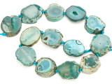 Teal Green Agate Slab Gemstone Beads 28-32mm (AS991)