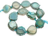 Teal Green Agate Slab Gemstone Beads 30-36mm (AS992)