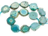 Teal Green Agate Slab Gemstone Beads 28-34mm (AS993)