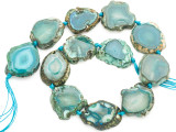 Teal Green Agate Slab Gemstone Beads 28-32mm (AS994)