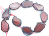 Fuchsia Pink Agate Slab Gemstone Beads 38-42mm (AS995)