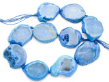 Blue Agate Slab Gemstone Beads 34-43mm (AS1004)