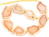 Peach Orange Agate Slab Gemstone Beads 45-52mm (AS1012)
