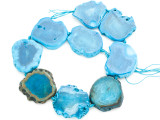 Bright Blue Agate Slab Gemstone Beads 40-44mm (AS1014)