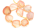 Peach Orange Agate Slab Gemstone Beads 36-48mm (AS1026)