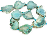 Teal Green Agate Slab Gemstone Beads 40-48mm (AS1029)