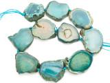 Teal Green Agate Slab Gemstone Beads 32-42mm (AS1030)