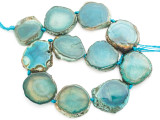 Teal Green Agate Slab Gemstone Beads 30-40mm (AS1031)