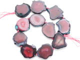 Fuchsia Pink Agate Slab Gemstone Beads 31-40mm (AS1034)