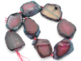 Fuchsia Pink Agate Slab Gemstone Beads 36-41mm (AS1035)