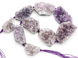 Amethyst Crystal Slab Gemstone Beads 30-48mm (GS4907)