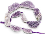 Amethyst Crystal Slab Gemstone Beads 32-50mm (GS4909)