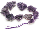Amethyst Crystal Slab Gemstone Beads 30-52mm (GS4912)