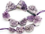 Amethyst Crystal Slab Gemstone Beads 20-40mm (GS4913)