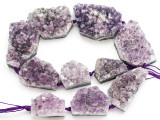 Amethyst Crystal Slab Gemstone Beads 25-42mm (GS4914)