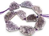 Amethyst Crystal Slab Gemstone Beads 33-50mm (GS4915)