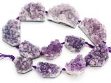 Amethyst Crystal Slab Gemstone Beads 26-43mm (GS4918)