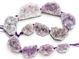 Amethyst Crystal Slab Gemstone Beads 22-49mm (GS4919)