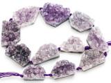 Amethyst Crystal Slab Gemstone Beads 28-38mm (GS4923)