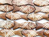 Brown & White Carved Fish Bone Beads 43-45mm (B1372)