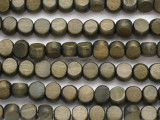 Dark Green Round Tabular Wood Beads 8-9mm - Indonesia (WD988)