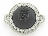 Black Druzy Agate Connector Pendant w/Rhinestones 26mm (GSP2665)