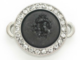 Black Druzy Agate Connector Pendant w/Rhinestones 26mm (GSP2666)