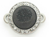 Black Druzy Agate Connector Pendant w/Rhinestones 26mm (GSP2667)