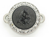 Black Druzy Agate Connector Pendant w/Rhinestones 26mm (GSP2668)