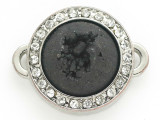 Black Druzy Agate Connector Pendant w/Rhinestones 26mm (GSP2669)