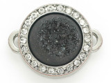Black Druzy Agate Connector Pendant w/Rhinestones 26mm (GSP2670)